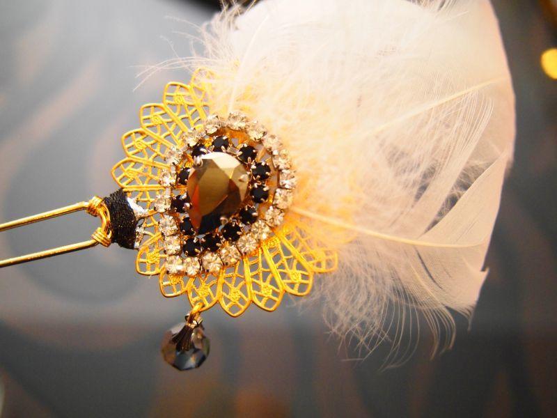 画像1: amitie CREDIR white feather かんざし