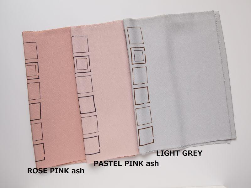 画像左側から◆35-23: ROSE PINK ash  (ローズピンクアッシュ)  ◆930-1A: PASTEL PINK ash (パステルピンクアッシュ)  ◆930-1B: LIGHT GREY  (ライトグレー)