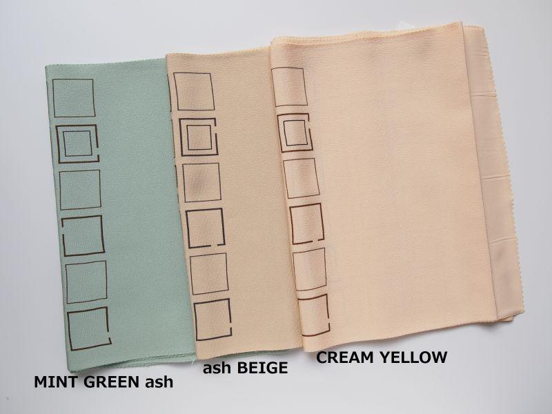画像左側から◆MINT GREEN ash  (ミントグリーンアッシュ)  ◆35-12: ash BEIGE  (アッシュベージュ)  ◆35-13:CREAM YELLOW  (クリームイエロー)