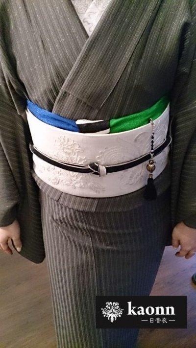 画像3: kaonn original 手染め帯揚げ 【mixed BORDER】