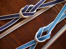 左 1.ダークパープル 右 2.ブルー 正絹帯締め 秋冬 無地×マルチストライプ