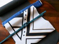 3.ピーコックグリーン コーディネート例平帯締め v-stripe 正絹 小紋用 紬着物用