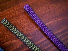 左 2.グリーン 右1.パープル平帯締め v-stripe 正絹 小紋用 紬着物用