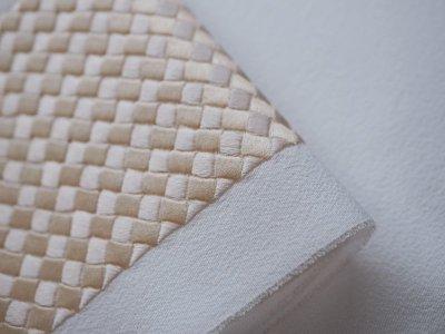 画像2: 手刺繍 正絹 半衿 網代 ピンクベージュ