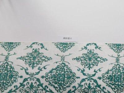 画像1: 染め名古屋帯【博多織帯地】アラベスクグリーン