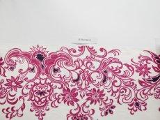 画像9: 染め名古屋帯【博多織帯地】モダン更紗ダークチェリー (9)