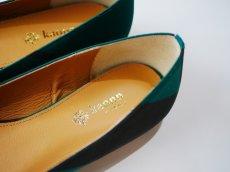 画像2: kaonn original flat pumps GOLD FLASH /  Green 23.5 (2)