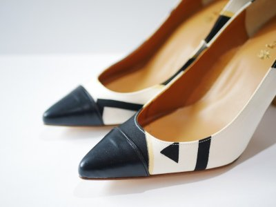 画像1: kaonn original 8.5cm heel pumps GOLD FLASH /  white 23.5