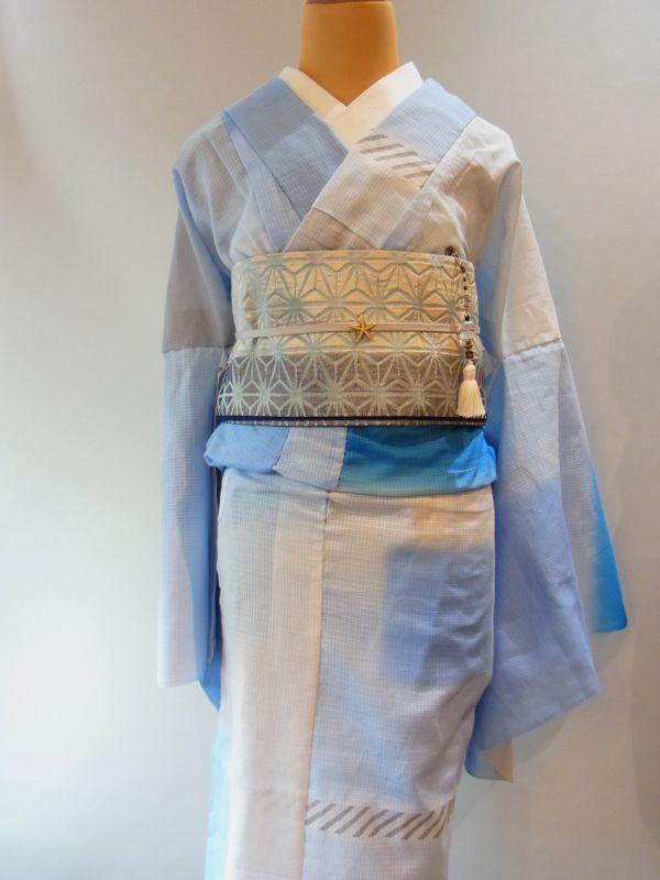 ブルー kaonn手染めゆかた/summer composition
