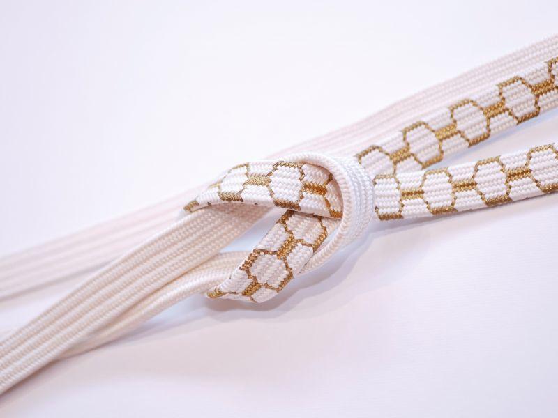 画像1: 帯締め 礼装用 亀甲 平 手組紐 gold (1)