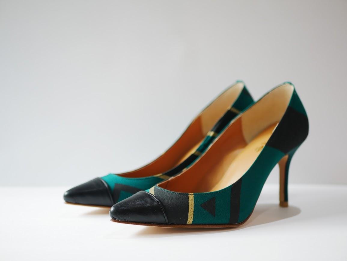 画像1: kaonn original 8.5cm heel pumps GOLD FLASH /  green 22.5 (1)