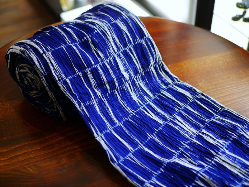 画像1: 絞りゆかた royal blue5 (1)